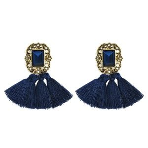 Jewelry - Royal Blue Boho Fringe Tassel & Crystal Earrings